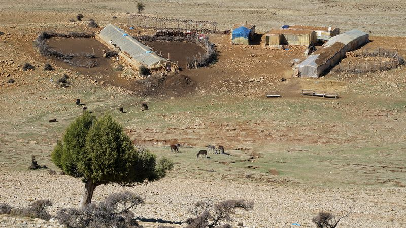 A view of a dwelling and animal pen near Ain el-Louh in Morocco's Middle Atlas mountains