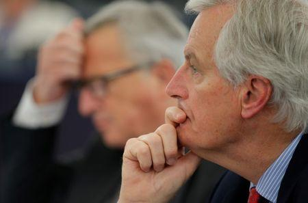 EU Brexit negotiator Barnier gestures attends a debate on Brexit priorities at the European Parliament in Strasbourg