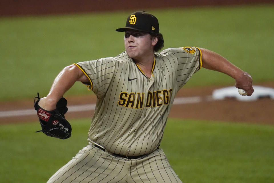 San Diego Padres relief pitcher Ryan Weathers throws to the Los Angeles Dodgers during the third inning in Game 1 of a baseball NL Division Series, Tuesday, Oct. 6, 2020, in Arlington, Texas. (AP Photo/Sue Ogrocki)