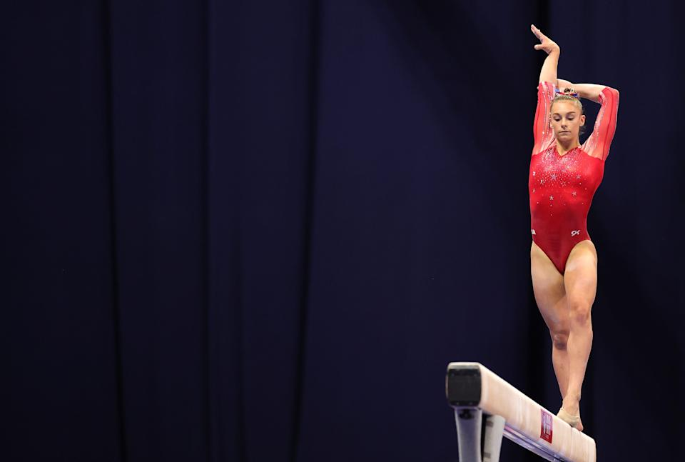 Grace McCallum competes on the balance beam during the Women's competition of the 2021 U.S. Gymnastics Olympic Trials at America's Center on June 27, 2021, in St Louis, Missouri.