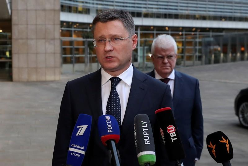 FILE PHOTO: Russian Energy Minister Alexander Novak speaks with the media outside the EU Commission headquarters in Brussels