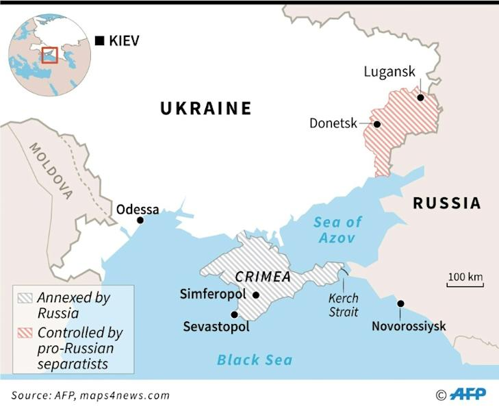 Map locating Crimea, annexed five years ago by Russia, and Kerch Strait where the Ukrainian sailors and ships were seized by Russia