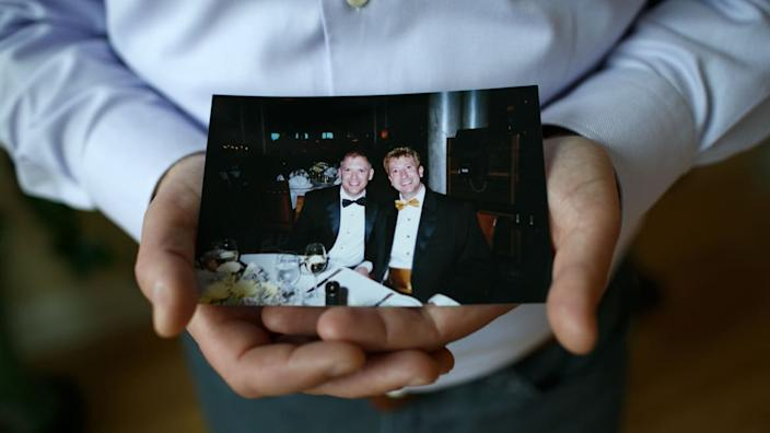 """<div class=""""inline-image__caption""""><p>Jim Obergefell holds a photo of himself and his late husband, John Arthur, in his condo in Cincinnati, Ohio, on April 2, 2015.</p></div> <div class=""""inline-image__credit"""">Maddie McGarvey/For The Washington Post via Getty</div>"""