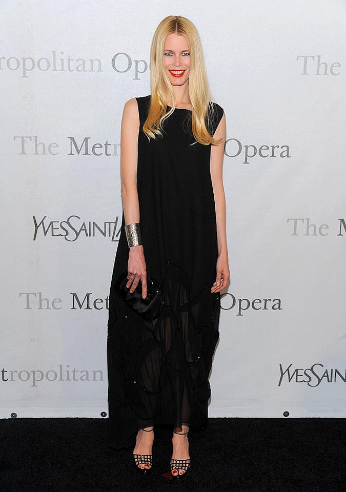"Like many of the night's attendees, Claudia Schiffer donned Yves St. Laurent to the YSL-sponsored fete. Dimitrios Kambouris/<a href=""http://www.wireimage.com"" target=""new"">WireImage.com</a> - March 15, 2009"