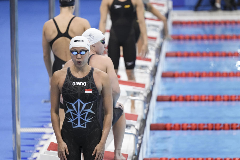 Singapore swimmer Quah Ting Wen preparing to begin her women's 100m freestyle heats at the 2020 Tokyo Olympics. (PHOTO: SNOC/Kong Chong Yew)