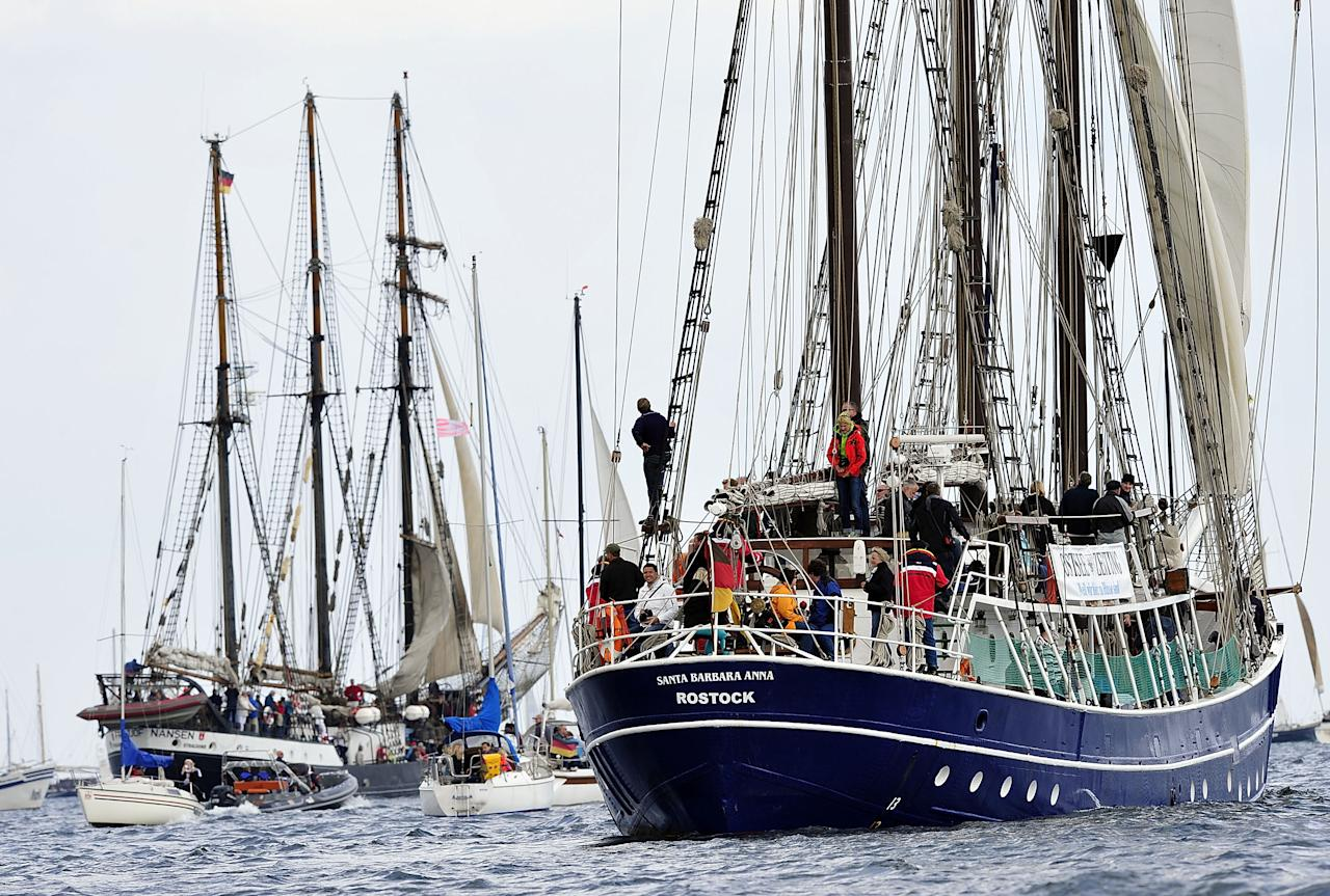 KIEL, GERMANY - JUNE 23:  German Santa Barbara Anna sails the Windjammer Parade of tall ships on June 23, 2012 in Kiel, Germany. The parade, which features approximately 100 tall ships and traditional large sailing ships, is the highlight of the Kieler Woche annual sailing festival, which this year is celebrating its 130th anniversary and runs from June 16-24.  (Photo by Patrick Lux/Getty Images)