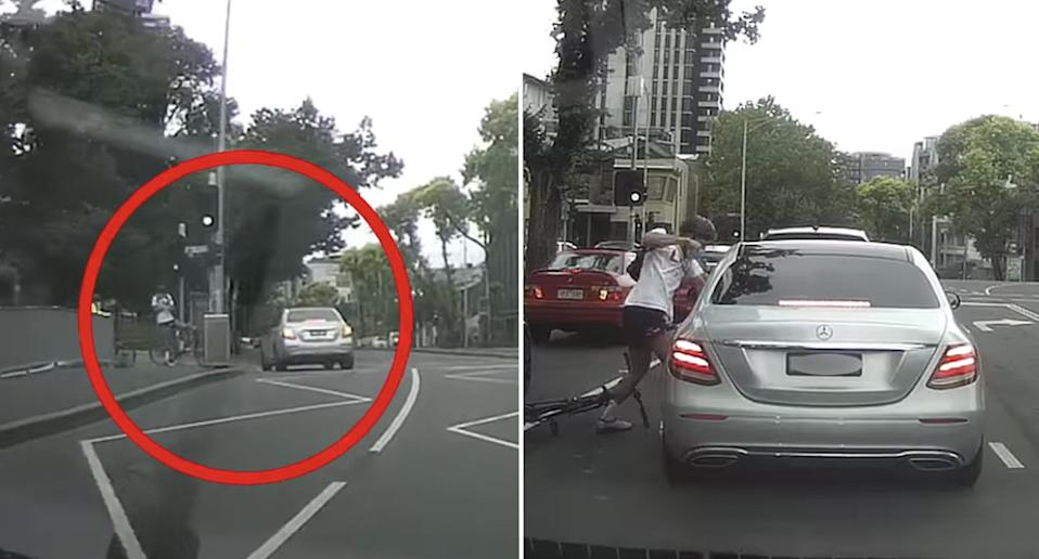 The shocking moment a cyclist sought revenge on a Mercedes passenger has been caught on dash cam footage.