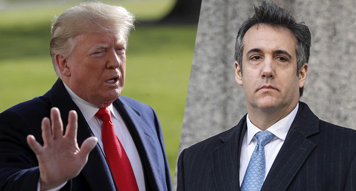 President Trump speaks to reporters; Michael Cohen leaves federal court on Thursday. (Photos: Jim Young/Reuters, Drew Angerer/Getty Images)