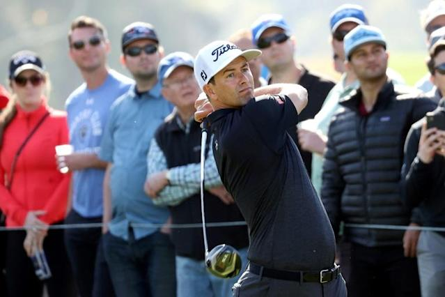 Australian Adam Scott tees off at 18 on the way to a share of the third-round lead in the US PGA Tour Genesis Invitational at Riviera Country Club (AFP Photo/CHRIS TROTMAN)