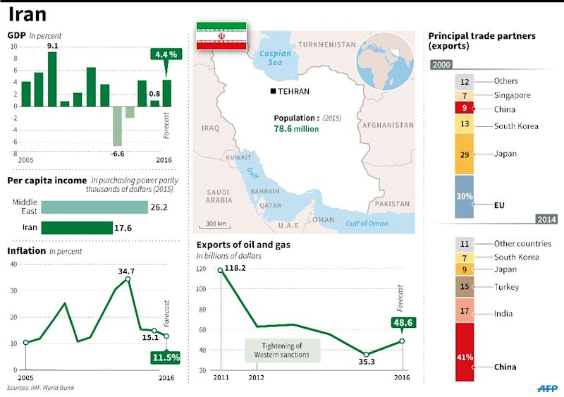 Factfile on Iran. 180 x 126 mm (AFP Photo/)