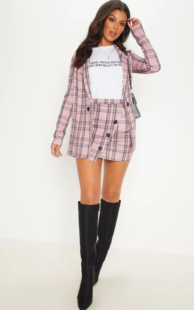 <p>PrettyLittleThing <span>Pink Check Oversize Blazer</span> ($48) and <span>Pink Check Button Skirt</span> ($25)</p>