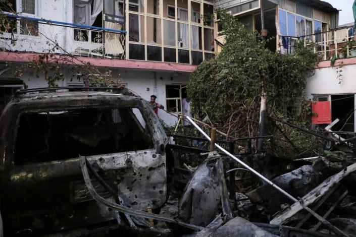 General view of a residence house destroyed after a rocket attack in Kabul, Afghanistan