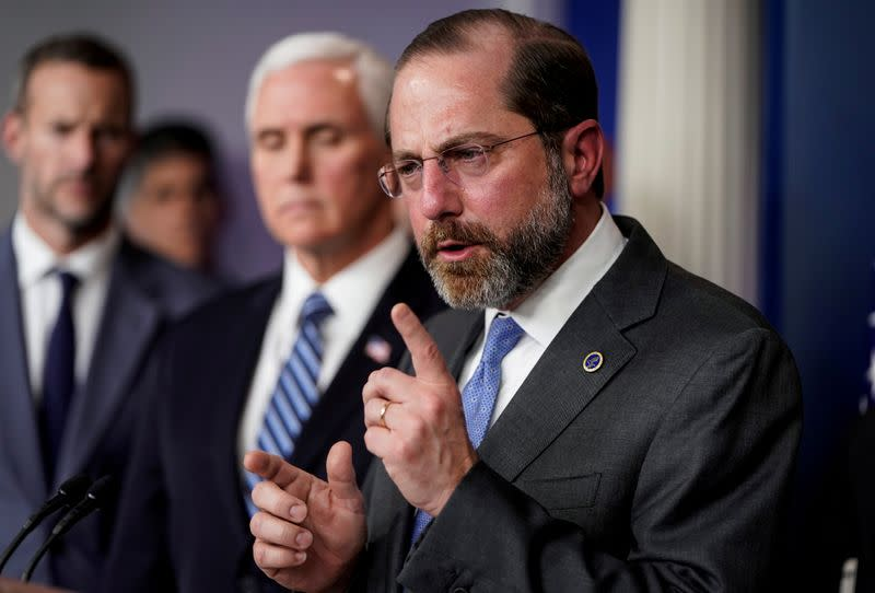 Alex Azar speaks during a news briefing on the administration's response to the coronavirus in Washington