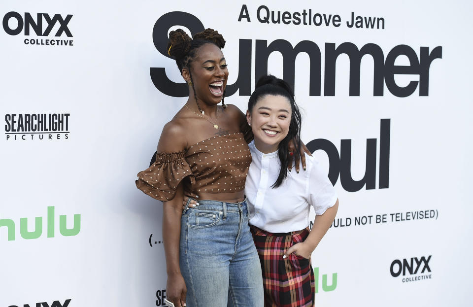 """Zuri Adele and Sherry Cola arrive at the Los Angeles premiere of """"Summer of Soul"""" at The Greek Theatre on Friday, July 9, 2021. (Photo by Jordan Strauss/Invision/AP) - Credit: Jordan Strauss/Invision/AP"""