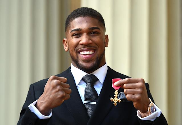 "Heavyweight champion Anthony Joshua will make his U.S. debut on June 1 when he defends his title in New York against Jarrell ""Big Baby"" Miller. (Getty Images)"