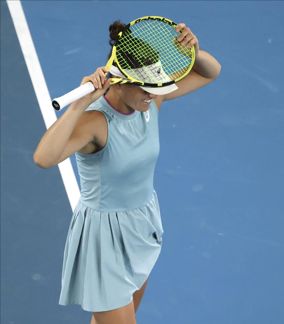 United States' Jennifer Brady reacts after losing a point to Japan's Naomi Osaka during the women's singles final at the Australian Open tennis championship in Melbourne, Australia, Saturday, Feb. 20, 2021.(AP Photo/Hamish Blair)