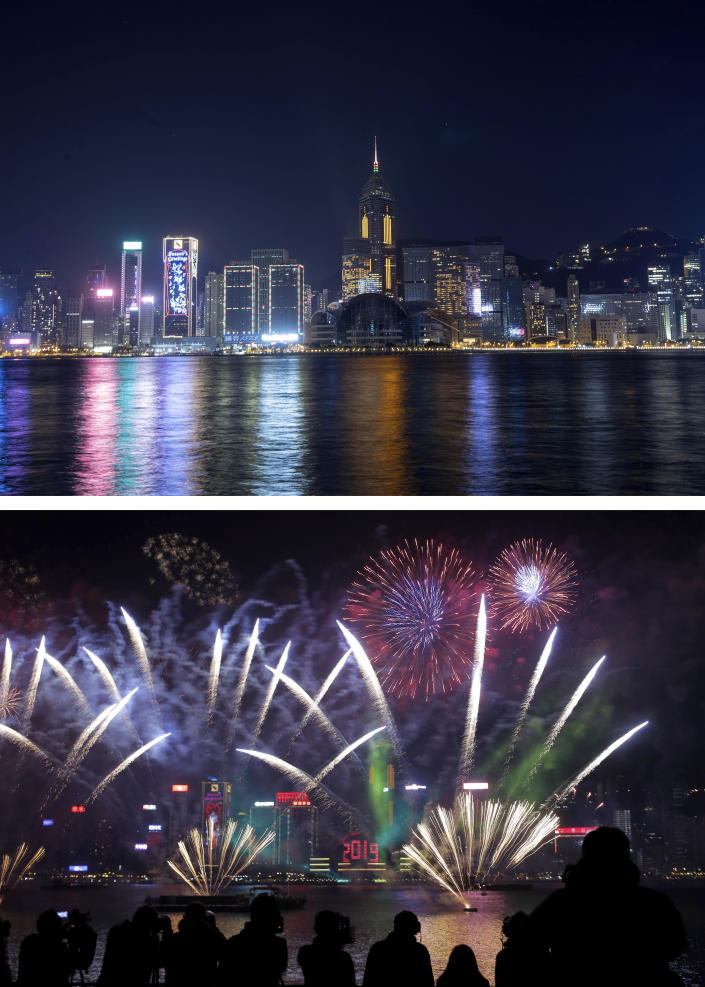 A combo image showing a general view of the Victoria Harbor at the New Year's Eve of year 2021 in Hong Kong, the top photo taken on Thursday, Dec. 31, 2020, and the bottom one on Tuesday, Jan. 1, 2019, fireworks explode over the Victoria Harbor during New Year's Eve to celebrate the start of year 2019 in Hong Kong. As the world says goodbye to 2020, there will be countdowns and live performances, but no massed jubilant crowds in traditional gathering spots like the Champs Elysees in Paris and New York City's Times Square this New Year's Eve. The virus that ruined 2020 has led to cancelations of most fireworks displays and public events in favor of made-for-TV-only moments in party spots like London and Rio de Janeiro. (AP Photo/Kin Cheung)