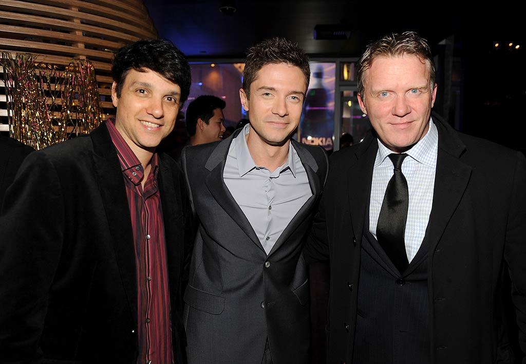 "In a blast from the past, ""The Karate Kid's"" Ralph Macchio and ""The Breakfast Club's"" Anthony Michael Hall took a photo op with Topher Grace at the premiere of Grace's 1980s-themed film ""Take Me Home Tonight"" in Los Angeles on Wednesday night. Can you believe Macchio turns 50 this year?! Frazer Harrison/<a href=""http://www.gettyimages.com/"" target=""new"">GettyImages.com</a> - March 2, 2011"