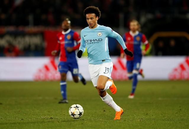 Soccer Football - Champions League - Basel vs Manchester City - St. Jakob-Park, Basel, Switzerland - February 13, 2018 Manchester City's Leroy Sane in action Action Images via Reuters/Andrew Boyers
