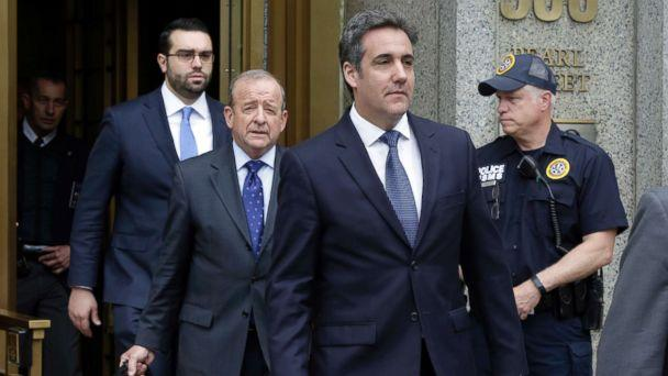 PHOTO: President Donald Trump's personal attorney Michael Cohen, right, leaves Federal Court, in New York, May 30, 2018, followed by members of his legal team, from left, Joseph Evans and Stephen Ryan. (Richard Drew/AP)