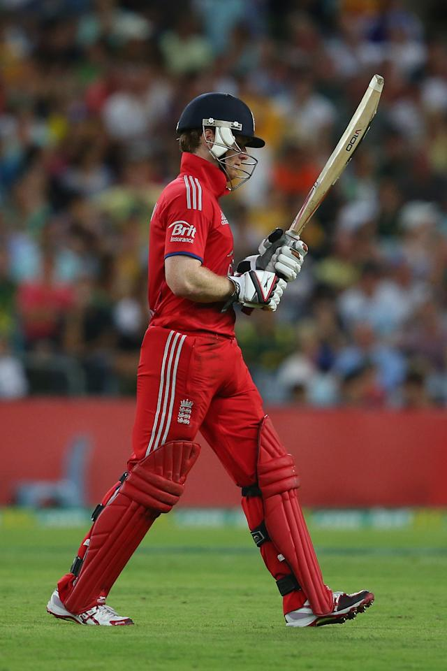 SYDNEY, AUSTRALIA - FEBRUARY 02:  Eoin Morgan of England looks dejected as he leaves the field after being dismissed during game three of the International Twenty20 series between Australia and England at ANZ Stadium on February 2, 2014 in Sydney, Australia.  (Photo by Mark Kolbe/Getty Images)