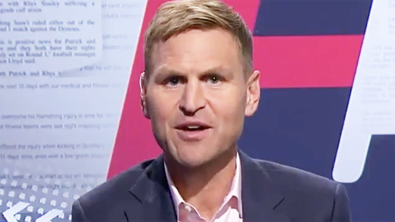 Kane Cornes is pictured on Channel 9's Footy Classified.