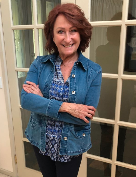 Home and away star Lynne McGranger who plays Irene Roberts poses after calling Trump a 'clown shoe'