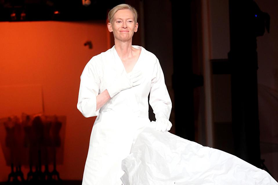 <p>Tilda Swinton wears an original costume for Pier Paolo Pasolini's film <em>Decameron</em> during the Embodying Pasolini press conference at the Mattatoio on June 24 in Rome.</p>