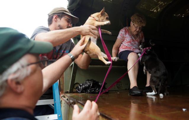 <p>Pets are evacuated from flood waters from Hurricane Harvey in Dickinson, Texas Aug. 27, 2017. (Photo: Rick Wilking/Reuters) </p>