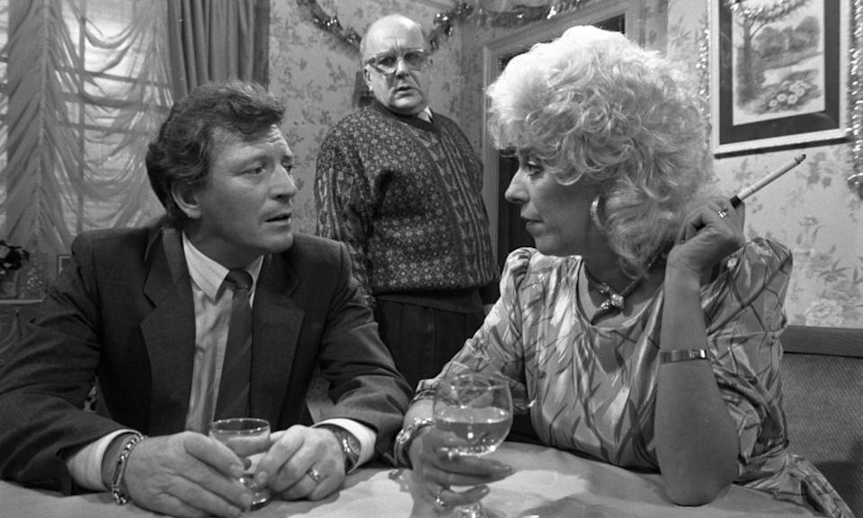 Johnny Briggs, left, as Mike Baldwin with Roy Barraclough as Alec Gilroy and Julie Goodyear playing Bet Gilroy.