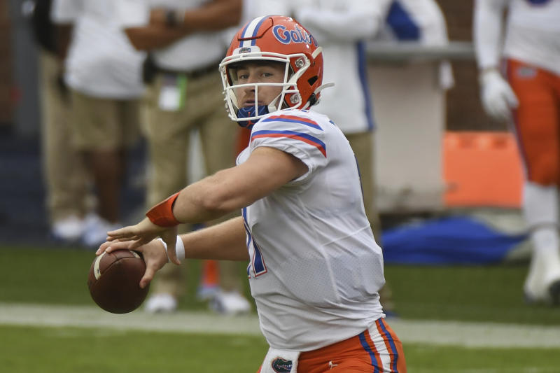 Florida quarterback Kyle Trask has work to do as an NFL draft prospect, but his opening-game performance against Mississippi was terrific. (AP Photo/Thomas Graning)