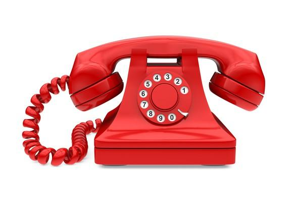 Red dial-style telephone