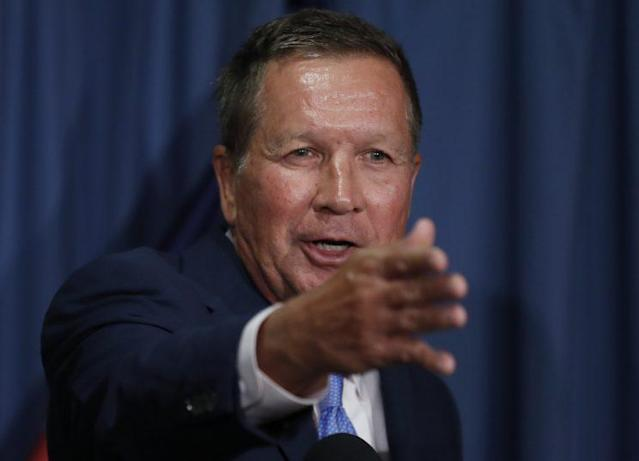 Ohio Gov. John Kasich speaks during a news conference with Colorado Gov. John Hickenlooper at the National Press Club on Tuesday about the Senate bill. (Photo: Carolyn Kaster/AP)