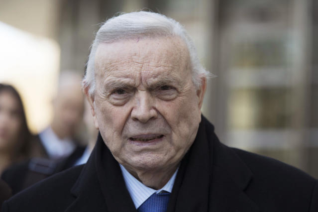 FILE - In this Nov. 17, 2017 file photo, Jose Maria Marin leaves federal court in the Brooklyn borough of New York. FIFA ethics judges have on Monday, April 15, 2019 banned Brazilian soccer official Jose Maria Marin for life, 16 months after he was convicted of corruption charges in a United States federal court. Marin led Brazils organizing committee for the 2014 World Cup before being arrested in Zurich the next year. (AP Photo/Mary Altaffer, File)