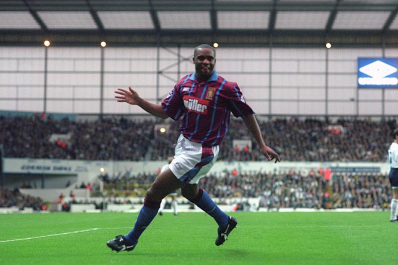 Aston Villa's Dalian Atkinson celebrates a goal against Tottenham Hotspur. (Photo by Steve Morton/EMPICS via Getty Images)