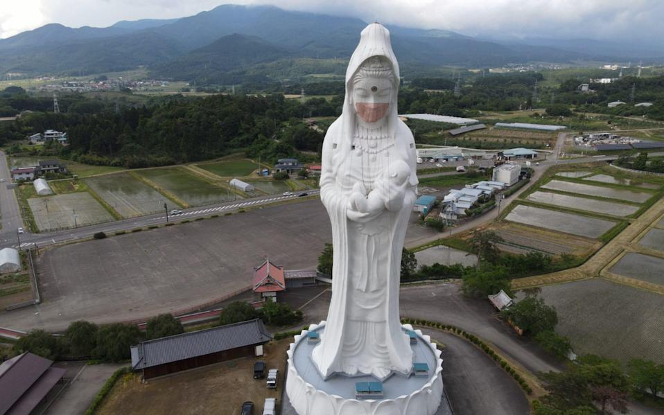 The statue, built 33 years ago, is hollow with a spiral staircase that can be climbed to the height of the goddess's shoulder - OISO ALL SUPPORT via Reuters