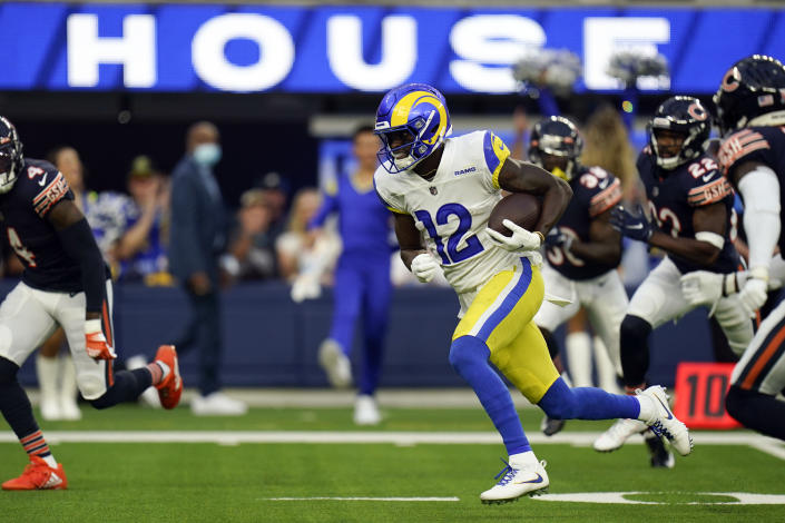 Los Angeles Rams wide receiver Van Jefferson runs on his way for a touchdown during the first half of an NFL football game against the Chicago Bears, Sunday, Sept. 12, 2021, in Inglewood, Calif. (AP Photo/Jae C. Hong)