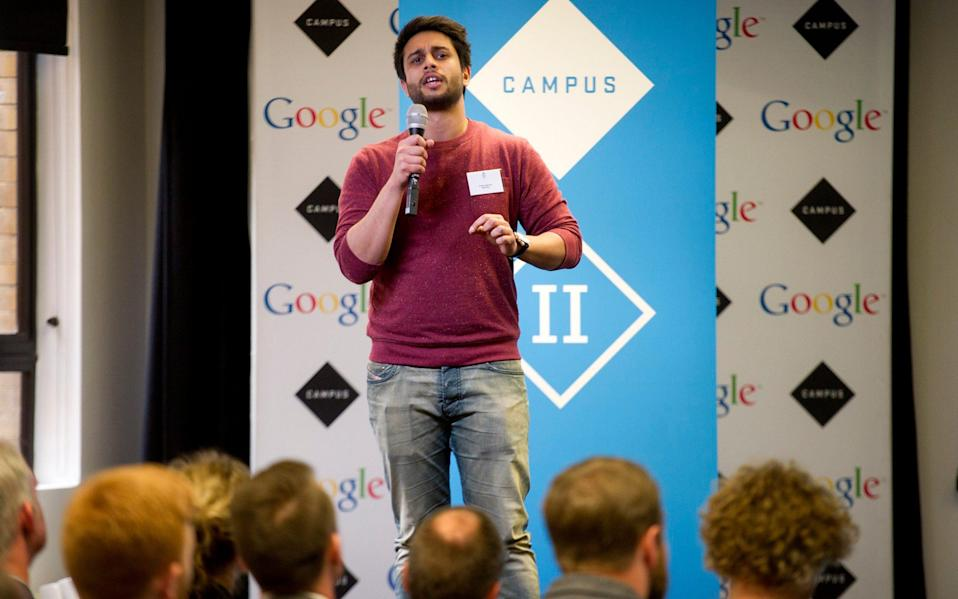 A pitch takes place at Google's Campus hub in London - Geoff Pugh/Telegraph