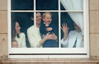 <p>Prince George got stuck at home with the nannies ... and he's not having any of it. So he stole the show from a Buckingham Palace window during the Trooping the Colour in 2015. </p>
