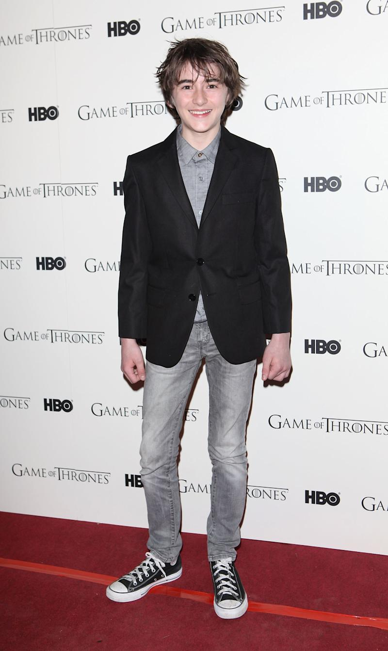 Isaac Hempstead Wright, who plays Bran Stark, at the launch party for the first season of Game of Thrones in London, England, February 2012.