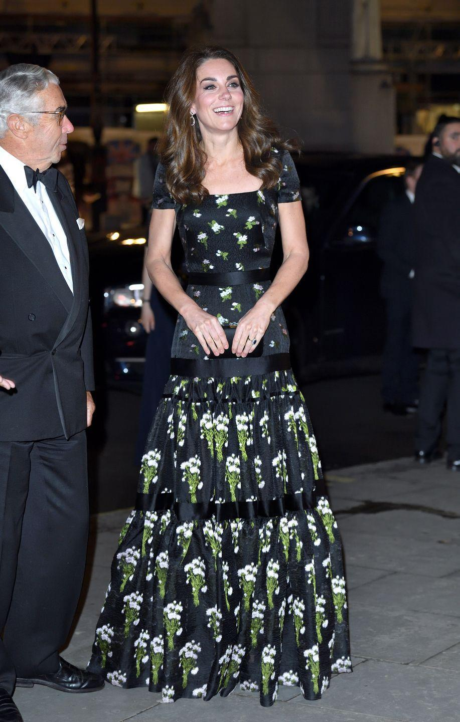 """<p>When Kate Middleton stepped out at the Royal Portrait Gallery in 2019, the media praised her repeat ensemble, which she wore in a strapless style in 2017. But a few eagle-eyed fans <a href=""""https://www.marieclaire.com/fashion/a26802161/kate-middleton-alexander-mcqueen-dress-national-portrait-gallery/"""" rel=""""nofollow noopener"""" target=""""_blank"""" data-ylk=""""slk:pointed out the tailoring seemed different"""" class=""""link rapid-noclick-resp"""">pointed out the tailoring seemed different</a>, and it was possible the Duchess had two of the same dresses in different styles. It was never confirmed, but it caused a flurry online. </p>"""