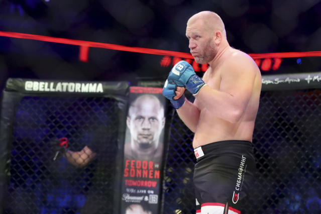 Bellator 215's main event was cut short after a low blow. (AP Photo/Gregory Payan)