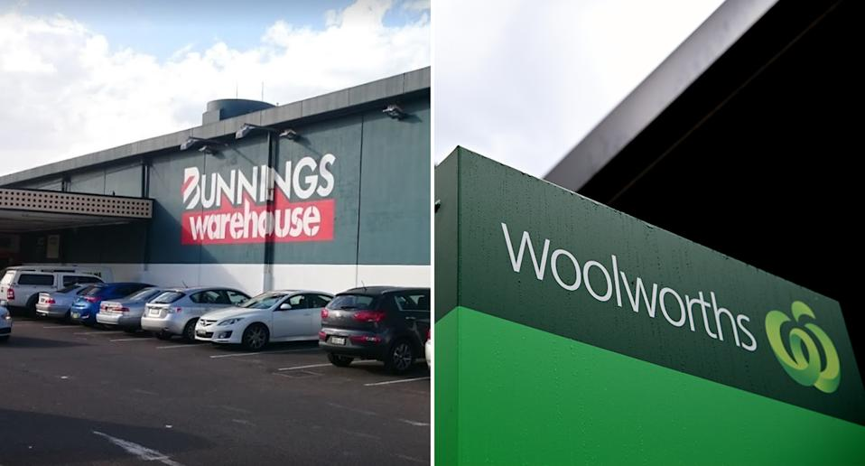 Ashfield Bunnings (left) and Woolworths locations in Sydney