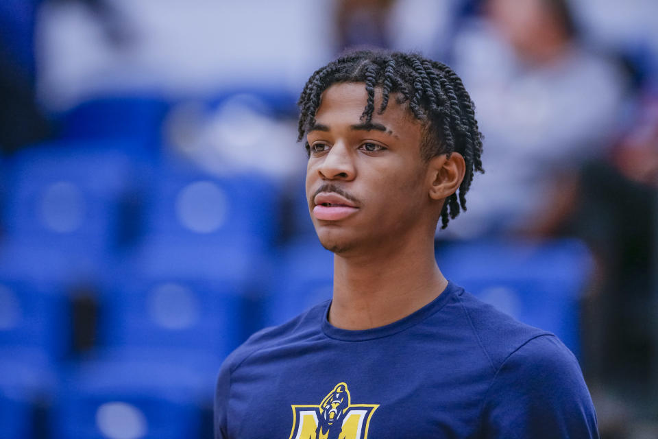 Ja Morant's season numbers for the 16-3 Murray State Racers are almost comical: 24.1 points, a nation-leading 10.5 assists and 5.6 rebounds. (Getty Images)