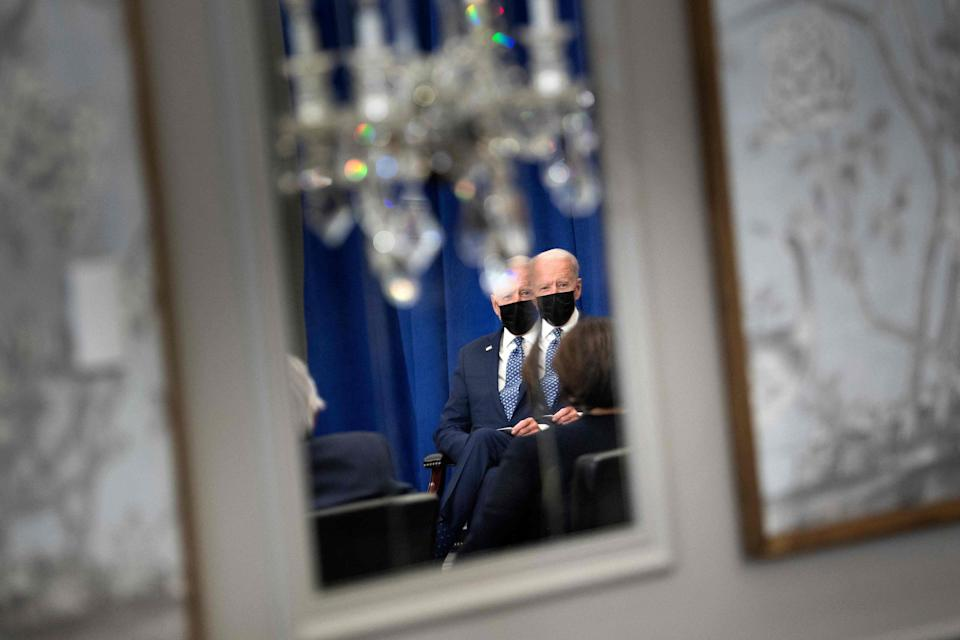 President Joe Biden waits for a  bilateral meeting with United Nations Secretary General Antonio Guterres on the sidelines of the UN General Assembly 76th session General Debate at the United Nations Headquarters, in New York, September 20, 2021.