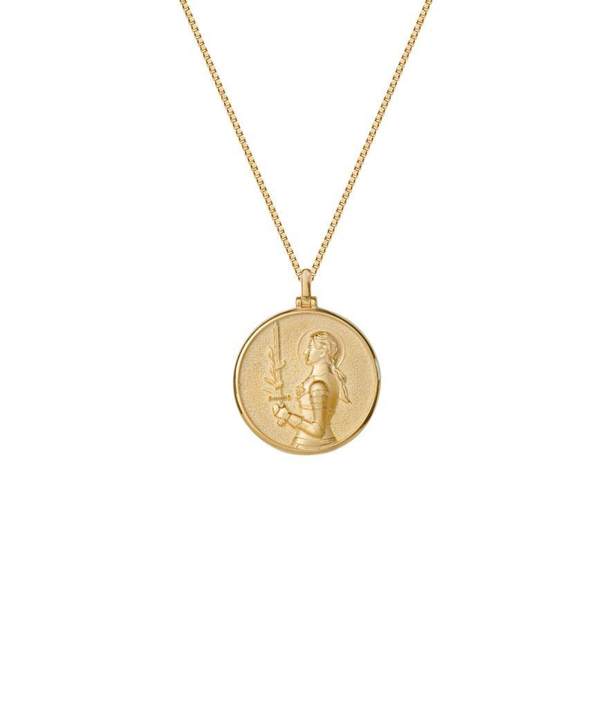 "<p>If you want to show your loved one that she's fierce and strong, give her this Awe Inspired necklace featuring Joan of Arc. Each coin is handcrafted, hand-polished and made of 14-karat gold vermeil.<br><a rel=""nofollow noopener"" href=""https://fave.co/2T5ulhb"" target=""_blank"" data-ylk=""slk:Shop it:"" class=""link rapid-noclick-resp""><strong>Shop it:</strong> </a>$200, <a rel=""nofollow noopener"" href=""https://fave.co/2T5ulhb"" target=""_blank"" data-ylk=""slk:aweinspired.com"" class=""link rapid-noclick-resp"">aweinspired.com </a> </p>"