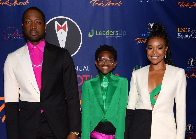 Dwyane Wade, Zaya Wade and Gabrielle Union attend the Better Brothers Los Angeles 6th annual Truth Awards at Taglyan Complex on March 07, 2020 in Los Angeles, California.