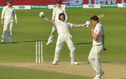 Stokes celebrates hitting the winning runs - Credit: AFP