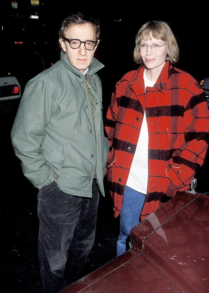 """Perhaps the most famous ... or, rather, <i>infamous</i> ... celebrity love triangle is the one involving comic director/actor Woody Allen and actress/co-star Mia Farrow. The two became romantically involved around 1980, and were together a dozen years (though never married) and adopted two children together and had one biological child. But then ... Ron Galella/Ron Galella/<a href=""""http://www.wireimage.com"""" target=""""new"""">WireImage.com</a> - March 8, 1990"""