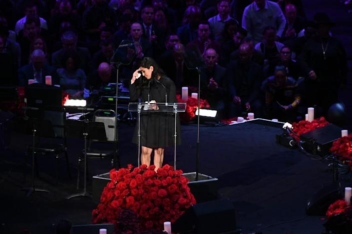 LOS ANGELES, CA., Vanessa Bryant speaks at the Kobe & Gianna Bryant Celebration of Life on Monday at Staples Center on Monday 24, 2020 (Wally Skalij / Los Angeles Times)